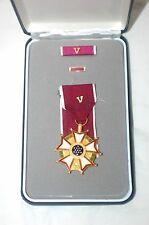 US Legion of Merit medal with V device and lapel pin, ribbon and box