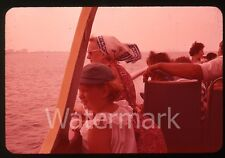 1950s  35mm Photo slide Lady and Girl Lake Michigan Boat Ride