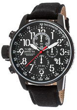 Invicta Men's 1517 Force Chronograph Black Dial Black IP Cloth/Leather Watch
