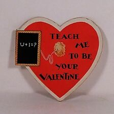 Vintage Valentine's Day Card 1930's Heart and Chalkboard Used No Reserve!
