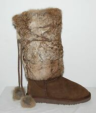 "WOMEN'S SHEEPSKIN TALL WINTER BOOTS ""KOS"" KINGDOM OF SHEEP SIZE 7  -BROWN-"
