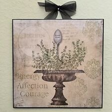 French Thyme Herb Plaque Wall Decor Country Cottage Shabby