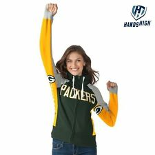 Green Bay Packers Hands High Hoodie Extra Small Ladies Embroidered Womens NFL