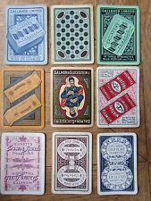 9 Different RARE Antique SINGLE / SWAP Playing Cards CIGARETTES & TOBACCO