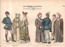 1880 Chromo Fashion print of 1400's English and French Nobility