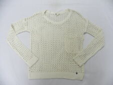 Roxy Women Turnabout Beige L/S Pullover Crew Sweatshirt Sz Medium