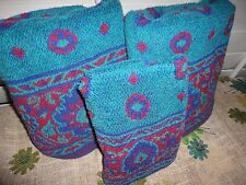 FIELDCREST BOLD GREEN RED BLUE RETRO FLORAL (3PC) BATH & HAND TOWELS
