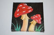 "PSYCHEDELIC MAGIC MUSHROOM Amanita Muscaria ORIGINAL MINI 3""x3"" Canvas PAINTING"