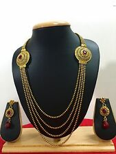 Indian Ethnic Gold Plated Bollywood Fashion Jewelry Long Necklace Set