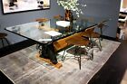 "94"" L Dining Table Industrial Crank Glass 3/4"" Top Black walnut Iron Base"