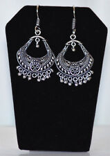 Silver Metal semicircle Hoop Dangle Earrings hook Handmade fashion Jewelry India