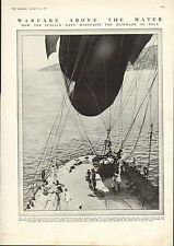 1915 WWI PRINT ~ ITALIAN AIRSHIP ON BOARD CRUISER ~ BLOCKADE OF POLA