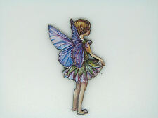 FLOWER FAIRIES SUMMER SCABIOUS FAIRY COLOURFUL WOODEN BROOCH PIN PURPLE BLUE