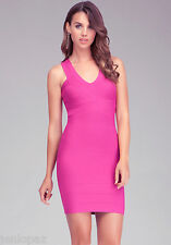 NWT bebe hot rose pink v neck zip bandage sexy top skirt dress S small 4 party