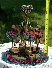 *NEW* HANDMADE WOODEN CAROUSEL WITH HORSES AND EMBELLISHMENTS