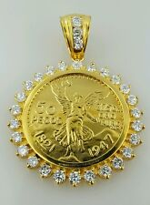 50 peso Mexican coin pendant / necklace  centenario Gold Plated  with CZ stones