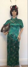 Women's Authentic Chinese emerald green dress size 42 includes fan Fancy Dress