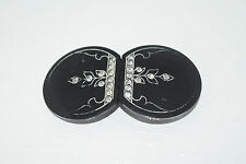 "Vintage 1910's Art Nouveau Rhinestone Black Celluloid Belt Buckle 1 5/8"" x 3"""