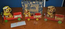 FISHER PRICE PULL TOY LOT OF 3 HOT DOG WAGONS 445, 750 & 75001 TOY TOWN