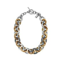NEW-MICHAEL KORS SILVER TONE+HORN CHAIN LINK NECKLACE+CRYSTAL PAVE MKJ1479