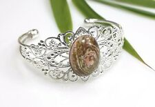 Fire Agate Stone Bracelet Filigree Silver Plated Bangle Brown / Peach Cabochon
