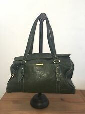 FLAWED TAHARI Green Textured Leather Shoulder Hobo Tote Satchel Purse Bag