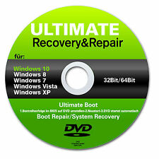 ★ Recovery & Repair CD DVD für Windows 10 - 8 - Win 7 - Vista - 32 & 64 bit ★