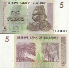 5 Zimbabwean dollars p66 2008 Zimbabwe CIRCULATED banknote