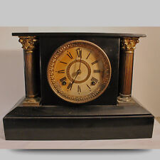 Antique Ansonia Mantel, Mantle Cast Iron Case Clock, columns BLACK ENAMEL