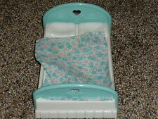 Fisher Price Loving Family Dollhouse Double Parent Bed with Flower Blanket