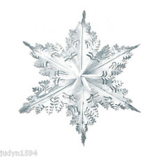 LARGE METALLIC SILVER SNOWFLAKE HANGING FOIL CHRISTMAS DECORATION FROZEN PARTY