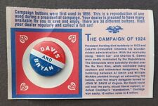 Vtg 1970's David / Bryan President Election Campaign Pinback Button Pin NOS