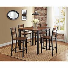 5 Piece Dining Set Counter Height Table 4 Chairs Dinette Wood Metal Kitchen NEW