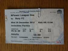 26/12/2012 Ticket: Preston North End v Bury. Item In very good condition unless