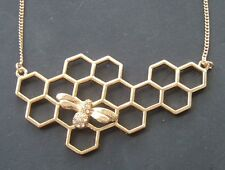 GOLD LACY OPEN HONEYCOMB with BUMBLEBEE BEE PENDANT NECKLACE