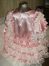 SISSY~MAIDS~ADULT BABY~UNISEX~CD/TV ~ FETISH PINK SATIN AND WHITE LACE DRESS