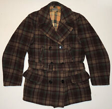 Vintage 30s/40s Swing Style Wool Plaid Double Breasted Coat 38 4-Pocket Pea
