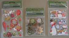 3 Packs of Very Cute Christmas Scrap Booking  Sticker Embellishments (X-105)