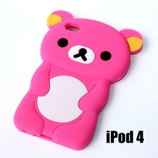 For iPod Touch 4th Gen -  SOFT SILICONE RUBBER SKIN CASE COVER PINK TEDDY BEAR