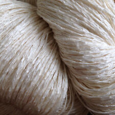 Undyed Silk and Linen Chainette Yarn, Lace/Fingering, Natural White