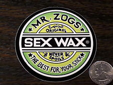 "MR ZOGS Original SEX WAX Surf Car Sticker Vinyl Decal 3"" Rnd Bright Lime Green"