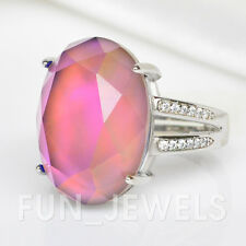 New Elegant Brass Oval Mood Ring Multi Color Change Facet Cut Stone Free Box