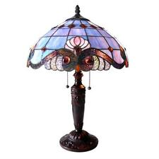 """Tiffany Style Stained Glass Vivaldi 2 Light Table Lamp 15"""" Shade Handcrafted New"""