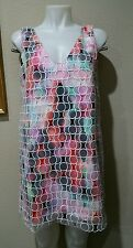 FRENCH CONNECTION S/L Circular Eyelet  Over Colorful Dress size 4 NWT $288