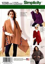 Simplicity Sewing Pattern 1098 Women's fleece Ponchos & Wraps one size fits most