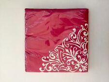 Pack Of 2 Paper Napkins, Lunch/Dinner, Damask Print, Pink & White, 20 Count