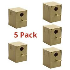 5 x Budgie Nest Box Plastic With Perch And Hooks To Front & Rear Aviary / Cages