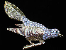 "GOLD TONE CLEAR RHINESTONE ORIOLE SPARROW CHICKADEE WREN BIRD PIN BROOCH 4""3D LG"