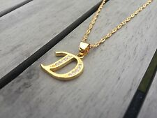 18ct Gold Filled Initial Necklace D, Alphabet Letter Pendant Chain Topaz Dainty