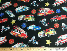 Rescue Vehicle Ambulance Cop Cars Fire Truck Handcrafted Curtain Valance NEW